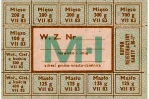 33 lata temu wprowadzono kartki na mięso [Fot. Kartka na mięso - skan ze zbiorów Ośrodka KARTA w Warszawie]