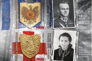 """""""Ryngrafy Żołnierzy Wyklętych"""" - """"Inka"""" i """"Witold"""" na znaczkach pocztowych [fot. Poczta Polska]"""