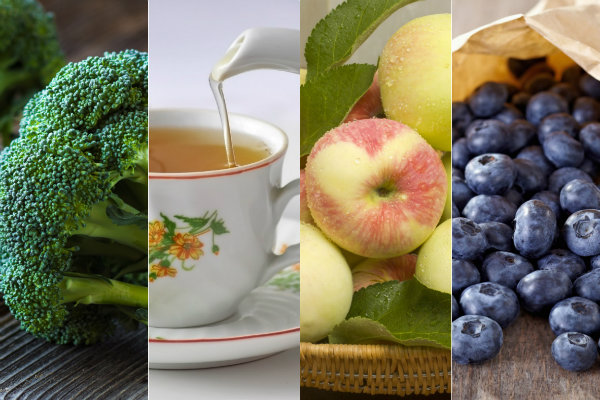 Brokuły, herbata, jabłka, jagody - oto eliksir młodości [fot. collage Senior.pl]