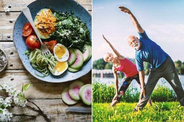 Ćwiczenia i zdrowa dieta w średnim wieku popłacają na starość [fot. collage Senior.pl / Canva]