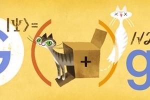 Erwin Schrödinger i kot w Google Doodle [fot. Google]