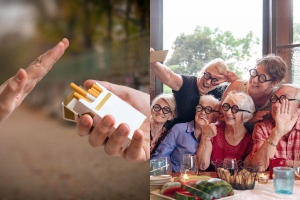 Klucz do długowieczności: niepalenie i aktywność towarzyska [fot. collage Senior.pl / Canva]