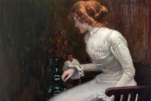 Malarstwo Maxa Wislicenusa we wrocławskim Pałacu Królewskim [fot. Portret damy w białej sukni_ok_1900_muzeum_miejskie_budziszyn]