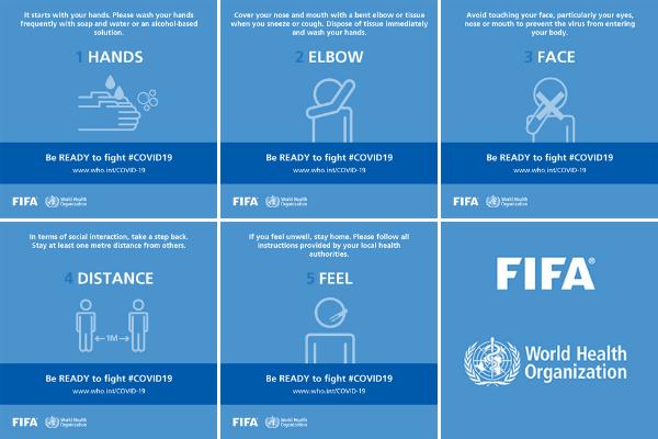 Pięć kroków do pokonania koronawirusa - nowa kampania WHO i FIFA [fot. WHO/FIFA]