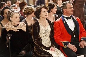 "Powstanie film ""Downton Abbey"" [fot. Maggie Smith,  Elizabeth McGovern, , Hugh Bonneville, Michelle Dockery]"