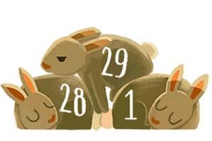 Rok przestępny i 29 lutego w Google Doodle [fot. Google]