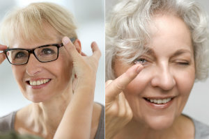 Soczewki kontaktowe czy okulary. Co wybrać? [fot. collage Senior.pl]