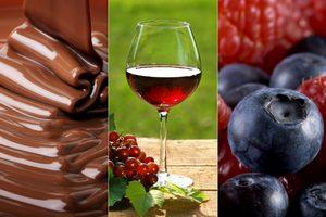 Ważne substancje ochronne można znaleźć czekoladzie, winie i jagodach [fot. collage Senior.pl]