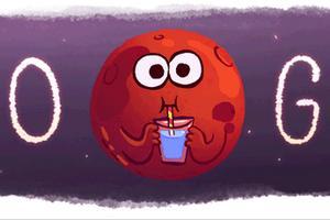 "Woda na Marsie. Specjalne ""google doodle"" [fot. Google]"